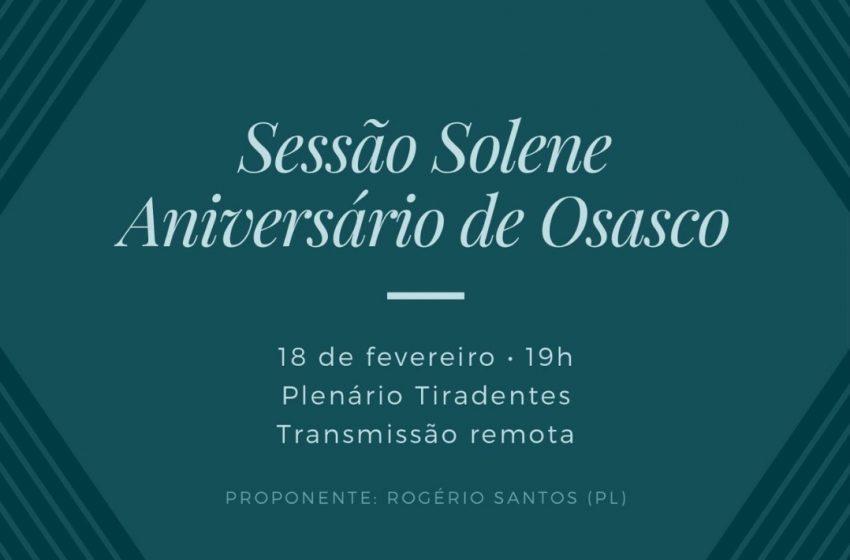 Sessão Solene na Câmara comemora os 59 anos da emancipação de Osasco