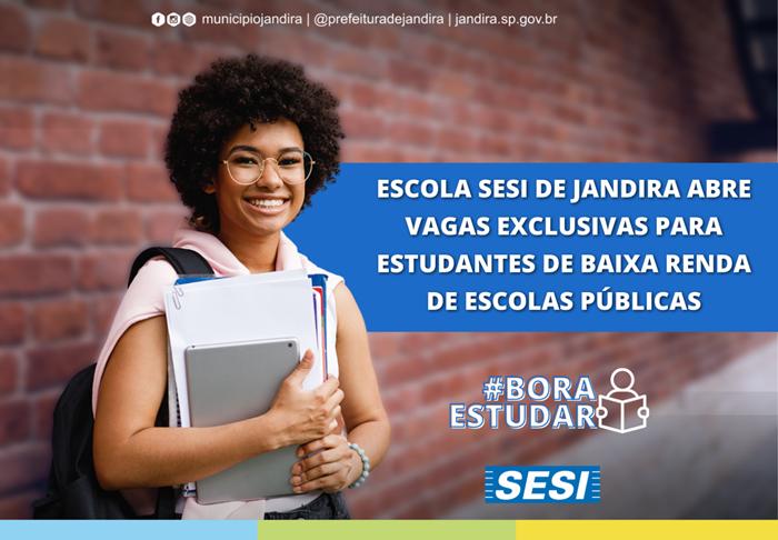 SESI de Jandira abre vagas a estudantes de baixa renda de escolas públicas